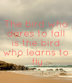 Poster: The bird who dares to fall is the bird who learns to  fly