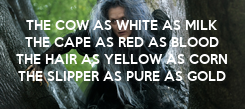 Poster: THE COW AS WHITE AS MILK THE CAPE AS RED AS BLOOD THE HAIR AS YELLOW AS CORN THE SLIPPER AS PURE AS GOLD