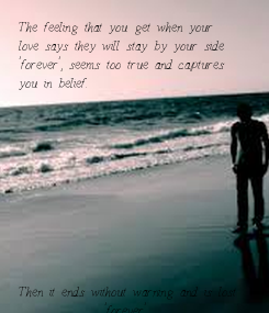 Poster: The feeling that you get when your  love says they will stay by your side  'forever', seems too true and captures  you in belief.            Then it ends without warning and