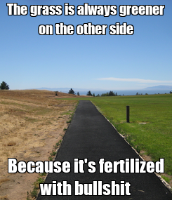 Poster: The grass is always greener on the other side Because it's fertilized with bullshit