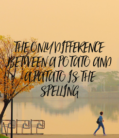 Poster: THE ONLY DIFFERENCE  BETWEEN A POTATO AND  A PATATO IS THE  SPELLING