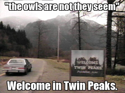 "Poster: ""the owls are not they seem"" Welcome in Twin Peaks."
