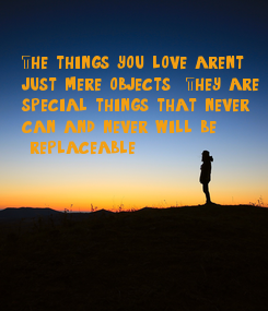 Poster: The things you love aren't  just mere objects . They are  special things that never  can and never will be  replaceable.