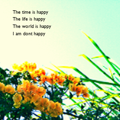 Poster: The time is happy The life is happy  The world is happy I am dont happy