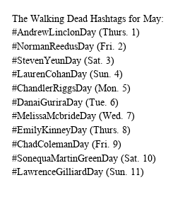 Poster: The Walking Dead Hashtags for May: