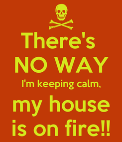 Poster: There's  NO WAY I'm keeping calm, my house is on fire!!