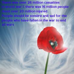 Poster: There was over 26 million casualties  in world war 1, there was 16 million people dead over 20 million injured.  People should be sombre and sad for the  people who have
