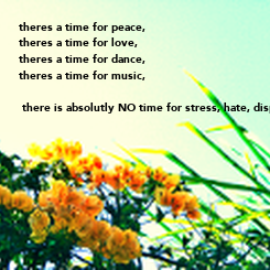 Poster: theres a time for peace, theres a time for love, theres a time for dance, theres a time for music,   there is absolutly NO time for stress, hate, dispare,war,..............make love, not war