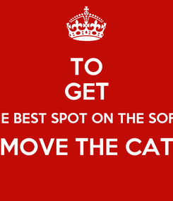 Poster: TO GET THE BEST SPOT ON THE SOFA, MOVE THE CAT
