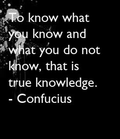 Poster: To know what 