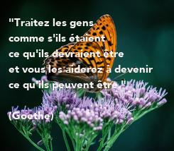 """Poster: """"Traitez les gens  comme s'ils étaient  ce qu'ils devraient être  et vous les aiderez à devenir  ce qu'ils peuvent être.""""   (Goethe)"""