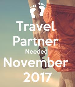 Poster: Travel  Partner  Needed  November  2017