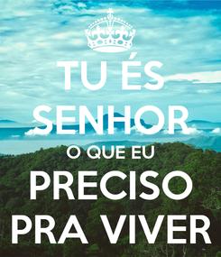 Poster: TU ÉS SENHOR O QUE EU PRECISO PRA VIVER