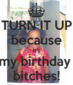 Poster: TURN IT UP because It's my birthday  bitches!