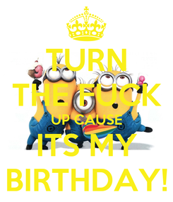 Poster: TURN THE FUCK UP CAUSE ITS MY BIRTHDAY!