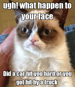 Poster: ugh! what happen to your face Did a car hit you hard or you got hit by a truck
