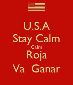 Poster: U.S.A Stay Calm Calm Roja Va  Ganar