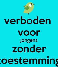 Poster: verboden  voor jongens zonder toestemming