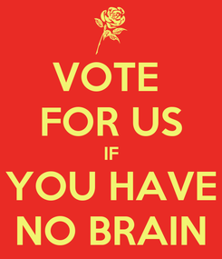 Poster: VOTE  FOR US IF YOU HAVE NO BRAIN