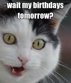 Poster: wait my birthdays tomorrow?