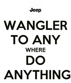 Poster: WANGLER TO ANY WHERE DO  ANYTHING