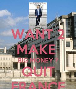 Poster: WANT 2 MAKE  BIG MONEY ? QUIT FRANCE