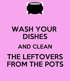 Poster: WASH YOUR  DISHES AND CLEAN THE LEFTOVERS FROM THE POTS