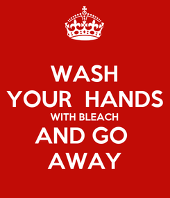 Poster: WASH YOUR  HANDS WITH BLEACH AND GO  AWAY