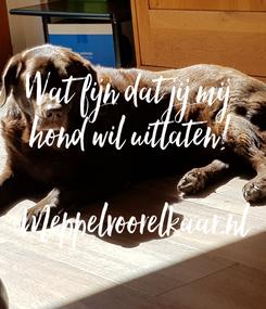 Poster: Wat fijn dat jij mij hond wil uitlaten!  Meppelvoorelkaar.nl