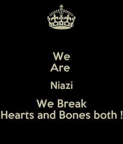 Poster: We Are  Niazi We Break Hearts and Bones both !