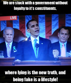 Poster: We are stuck with a government without loyalty to it's constituents, where lying is the new truth, and being fake is a lifestyle!