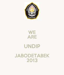 Poster: WE ARE UNDIP JABODETABEK 2013