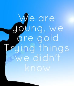 Poster: We are  young, we  are gold Trying things  we didn't  know