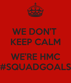 Poster: WE DON'T  KEEP CALM  WE'RE HMC #SQUADGOALS