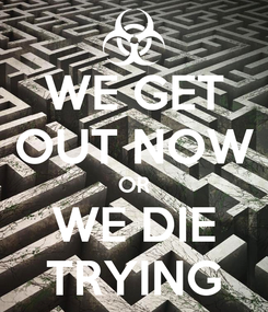 Poster: WE GET OUT NOW OR WE DIE TRYING