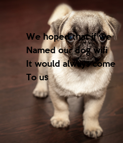 Poster: We hoped that if we Named our dog wifi It would always come  To us