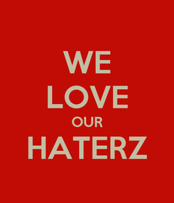 Poster: WE LOVE OUR HATERZ