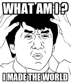 Poster: WHAT AM I ? I MADE THE WORLD