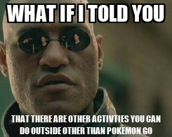 Poster: WHAT IF I TOLD YOU THAT THERE ARE OTHER ACTIVTIES YOU CAN DO OUTSIDE OTHER THAN POKEMON GO