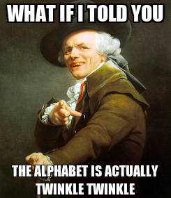 Poster: WHAT IF I TOLD YOU THE ALPHABET IS ACTUALLY TWINKLE TWINKLE