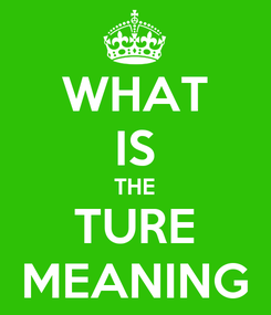 Poster: WHAT IS THE TURE MEANING