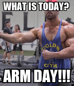 Poster: WHAT IS TODAY?  ARM DAY!!!