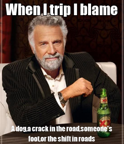 Poster: When I trip I blame A dog,a crack in the road,someone's foot,or the shift in roads