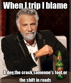 Poster: When I trip I blame A dog,the crack,someone's foot,or the shift in roads