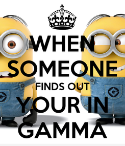 Poster: WHEN SOMEONE FINDS OUT YOUR IN GAMMA
