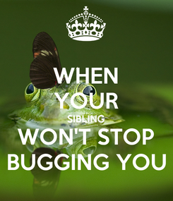 Poster: WHEN YOUR SIBLING WON'T STOP BUGGING YOU