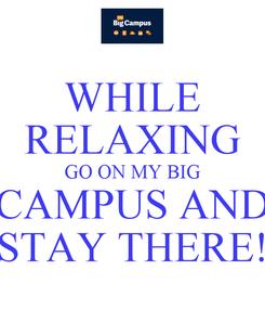 Poster: WHILE RELAXING GO ON MY BIG CAMPUS AND STAY THERE!