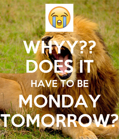 Poster: WHYY?? DOES IT HAVE TO BE MONDAY TOMORROW?
