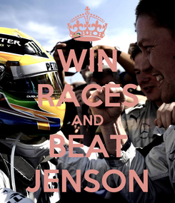Poster: WIN RACES AND BEAT JENSON
