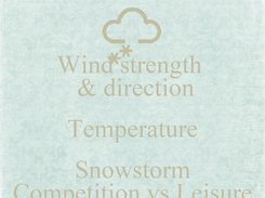 Poster: Wind strength   & direction Temperature Snowstorm Competition vs Leisure